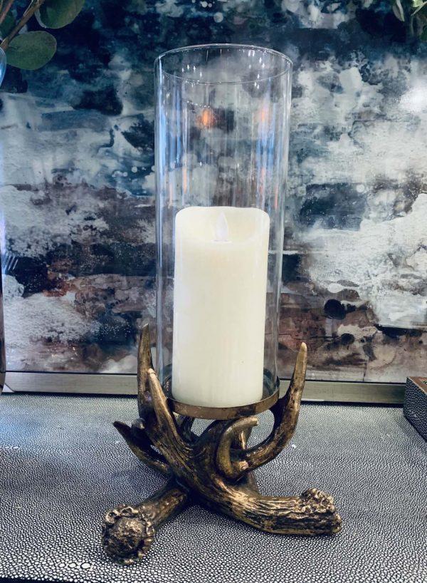 Antique Brass Antler Candle Holder