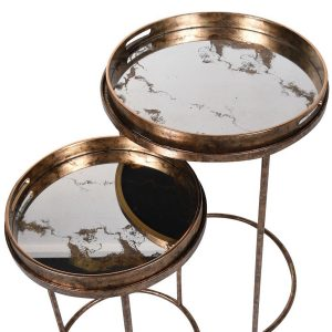 Antique Brass Mirrored Tray Tables