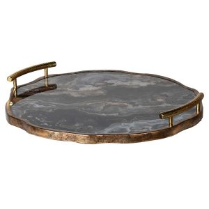 Flat Marble Effect Tray With Handles