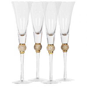 Gold Diamante Bubble Champagne Flutes