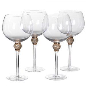 Gold Diamante Bubble Gin Glasses