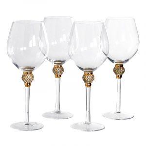 Gold Diamante Bubble Red Wine Glasses
