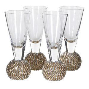 Gold Diamante Bubble Shot Glasses