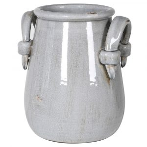 Grey Ceramic Urn Vase With Handles