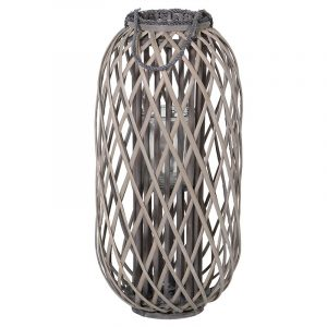 Small Grey Wicker Lantern With Rope Handles