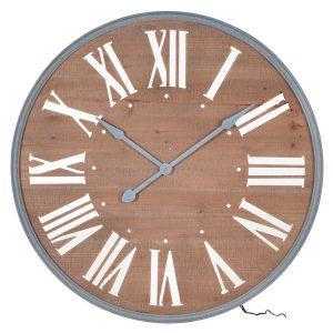 Lit Wooden Wall Clock