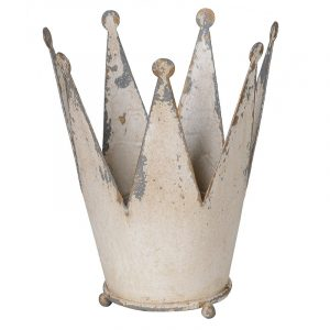 Shabby Chic Cream Princess Crown Candle Holder