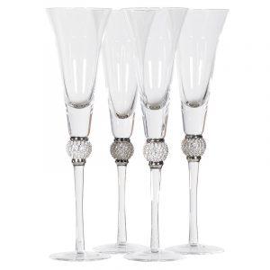 Silver Diamante Bubble Champagne Flutes