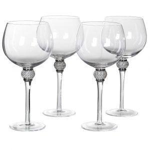 Silver Diamante Bubble Gin Glasses