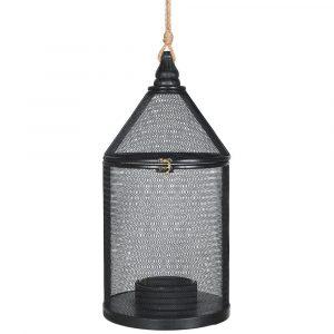 Black Round Woven Lantern Lanterns Avoir Interiors