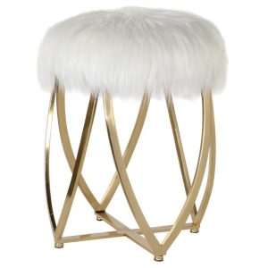 Alexis Faux Fur and Gold Stool Dressing Table Stools Avoir Interiors 1