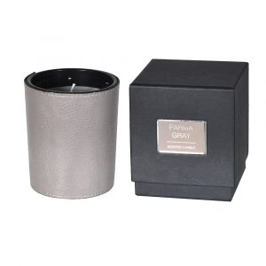 Avoir Faux Leather Grey Candle With Box Candles Avoir Interiors