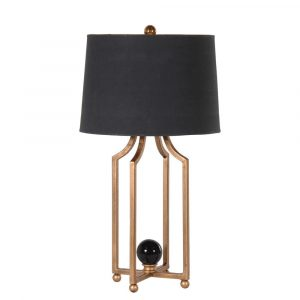Gold Black Tall Ball Lamp Lamps Avoir Interiors