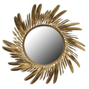 Gold Feather Detail Mirror Mirrors Avoir Interiors