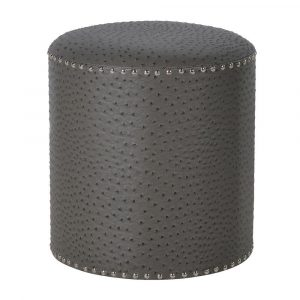 Grey Faux Ostrich Leather Footstall Stools Avoir Interiors