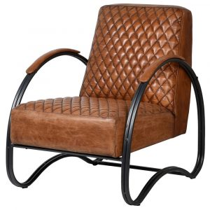 Hemmingway Tan Leather Art Deco Armchair Leather Armchairs Avoir Interiors