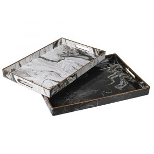 Large Black Marble Effect Tray Trays Avoir Interiors