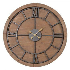Large Wood and Metal Roman Numerals Clock Wall Clocks Avoir Interiors 2