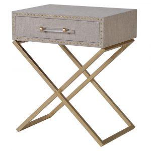Lindos Cross Leg Linen Bedside Bedside Tables Avoir Interiors