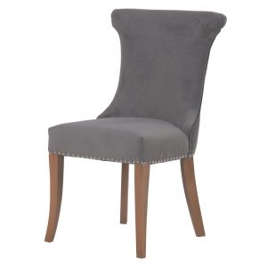 Marseille Grey Dining Chair WIth Stud Detail Dining Chairs Avoir Interiors