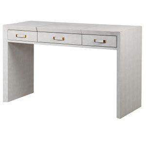 Mayfair Ivory Faux Shagreen 3 Drawer Hidden Mirror Dressing Table Dressing Tables Avoir Interiors