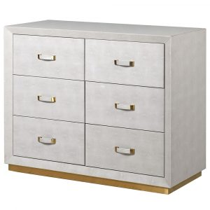 Mayfair Ivory Faux Shagreen 6 Drawer Chest Chest of Drawers Avoir Interiors