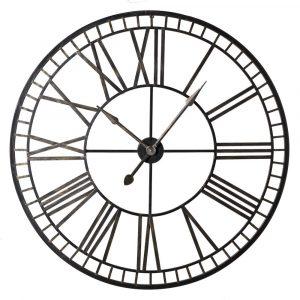 Round Black Gold Metal Roman Numerals Clock Wall Clocks Avoir Interiors