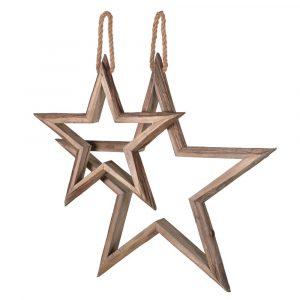 Set of Two Wooden Hanging Stars Stars Avoir Interiors