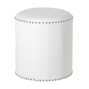 White Faux Ostrich Leather Footstool Stools Avoir Interiors