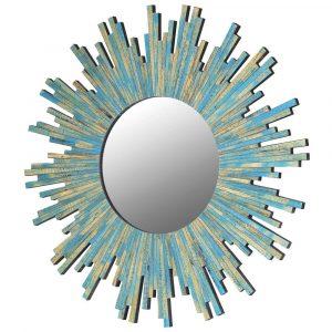 Aqua Turquoise Sunburst Mirror Mirrors Avoir Interiors