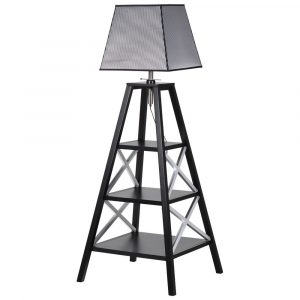 Black Grey Silver 3 Shelf Floor Lamp Floor Lamps Avoir Interiors
