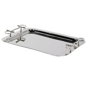 Gucci Inspired Silver Tray With Stirrup Handle Detail Trays Avoir Interiors