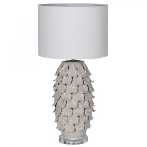 Hand Crafted Taupe Petal Lamp With Shade Lamps Avoir Interiors
