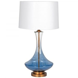 Into the Blue Smoked Blue Glass Lamp With Brushed Gold Detail Lamps Avoir Interiors