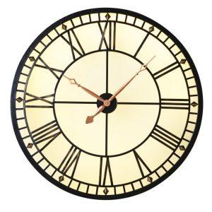 Light Up Your Life Round Roman Numerals Wall Clock Wall Clocks Avoir Interiors