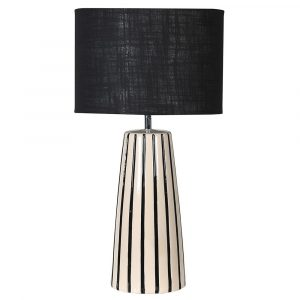 Reversible Black Cream Striped Lamp With Shade Lamps Avoir Interiors
