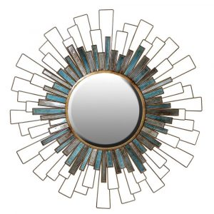 Teal Grey Moroccan Skies Mirror Mirrors Avoir Interiors